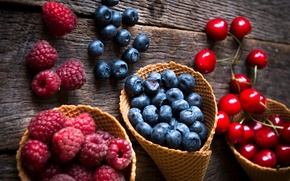 Обои ягоды, малина, черника, клубника, fresh, черешня, berries