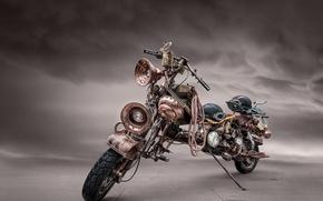 Картинка мотоцикл, стимпанк, байк