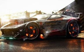 Картинка Concept, Car, Machine, Smoke, Rendering, Brake, by Typerulez, Killing