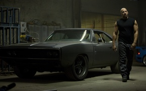 Картинка car, чёрный, актёр, black, додж, dodge, muscle, charger, 1970, fast five, vin diesel, вин дизель, …