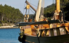 Картинка лодка, парус, wooden, такелаж, весла, deck, sailboat, traditional