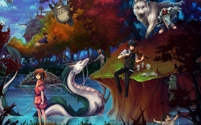 Картинка девушки, аниме, арт, парень, принцесса мононоке, мой сосед тоторо, totoro, spirited away, tonari no totoro, …
