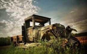 Обои грузовик, старое фото, 156, сломан