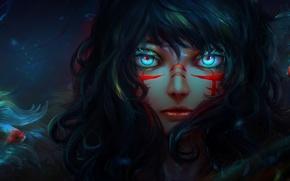 Картинка девушка, рыбки, лицо, аниме, арт