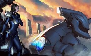 Картинка девушка, облака, город, робот, арт, шлем, меха, гигантский