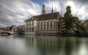 Картинка облака, мост, река, дерево, дома, Швейцария, собор, Zurich