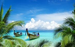 Картинка море, листья, вода, пейзаж, пальмы, красота, лодки