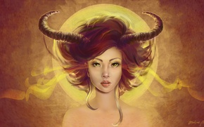 Картинка взгляд, арт, рога, демоница