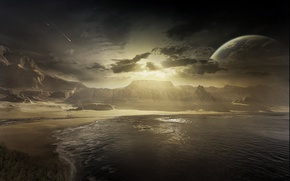 Обои море, метеор, восход, луна