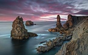 Обои море, берег, скалы, закат