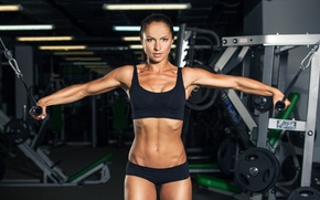 Картинка model, pose, workout, fitness, gym, dumbbells