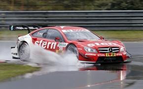 Картинка брызги, скорость, трасса, Mercedes, спорткар, мерседес, dtm, дтм