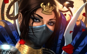 Обои взгляд, арт, Mortal Kombat, Kitana