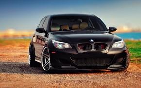 Картинка black, front, BMW, E60