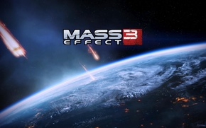 Картинка космос, земля, кометы, Mass Effect