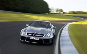 Обои mercedes, sl 65, amg, black series, car, track, машина