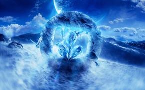 Картинка горы, планета, logo, совы, desktopography, рендер, digital art