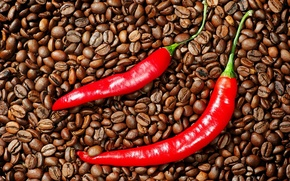 Обои чили, перец, кофе, зерна