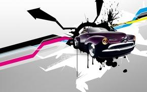Картинка авто, ретро, стрелки, вектор