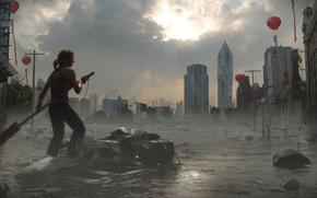 Картинка небо, вода, девушка, город, здания, плот, Глобальный потоп