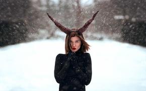 Картинка снег, макияж, рога, Simona, Katy Sendza