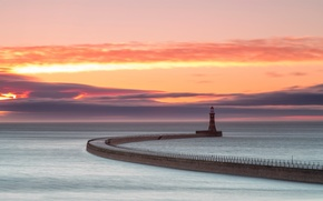 Картинка море, небо, облака, маяк, утро