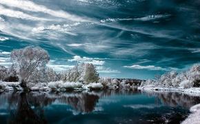 Обои озеро, снег, зима
