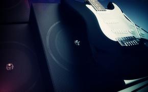 Обои гитара, динамик, музыка