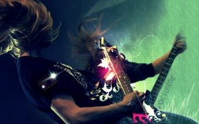 Обои рокстар, гитара, слова, волосы