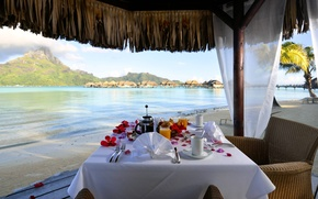 Картинка beach, Bora-Bora, breakfast, table, resort, lagoon