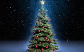 Картинка лучи, снег, ночь, праздник, шары, волшебство, звезда, елка, ель, красные, ёлка, magic, Christmas, snow, New …