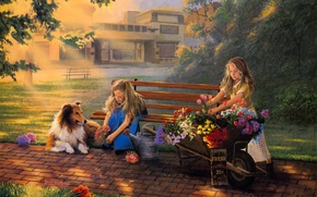 Картинка girls, dog, flowers, painting, bouquet, Little Bouquets, David Rottinghaus, selling flowers, collie
