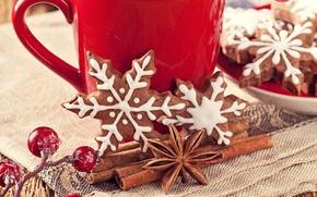 Обои анис, сладости, Новый Год, выпечка, печенье, падуб, снежинки, ягоды, New Year, Christmas, пряности, корица, чашка, ...