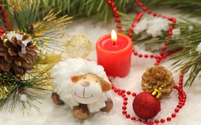 Картинка Happy, 2015, Новый Год, украшения, sheep, New Year, овечка, decoration