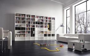 Картинка белый, дизайн, диван, интерьер, библиотека, white, design, modern, sofa, модерн, furniture, стеллажи