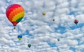 Картинка небо, облака, пейзаж, воздушный шар