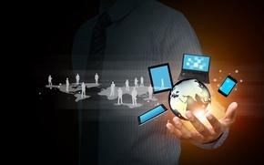 Картинка интернет, земной шар, hi-tech, социальные сети