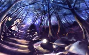Картинка дорога, лес, девушка, деревья, ночь, природа, аниме, арт, фонари, Touhou, Kirisame Marisa
