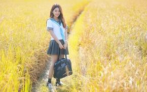 Обои азиатка, девушка, лицо, форма, лето