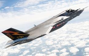 Картинка небо, самолет, истребитель, wallpaper, в полете, lockheed martin f-35 lightning