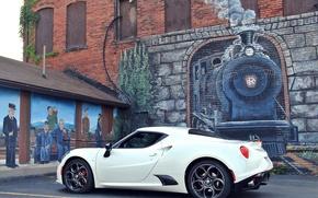 Картинка стена, рисунок, паровоз, Alfa Romeo, Alfa Romeo 4C