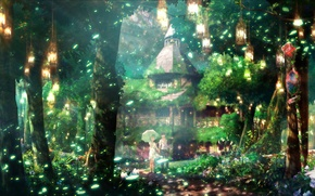 Картинка лес, лето, трава, свет, листва, зонт, фонари, Храм, двое