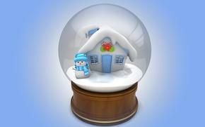 Обои snowman, 3d, winter, snow, cute, christmas, new year