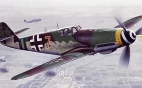 Картинка war, art, painting, aviation, ww2, german fighter, Bf 109 K4