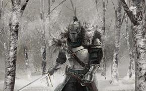 Обои рыцарь, снег, Dark Souls 2, зима, арт, доспехи, меч, Dark Souls II, лес
