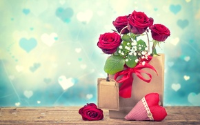 Картинка сердце, розы, пакет, День Святого Валентина, гипсофила