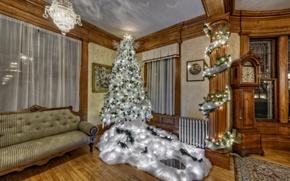 Картинка диван, праздник, ёлка