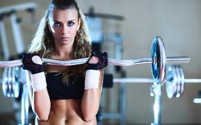 Картинка взгляд, спорт, пирсинг, зал, фитнес, штанга, workout, fitness, gym