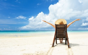 Картинка situation, vacation, water, beach chairs, Sea, sun, beach, hat, girl, sand, relax, light, summer, boat, ...