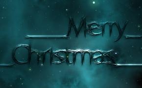 Картинка небо, космос, звезды, ночь, туман, стиль, буквы, темный фон, праздник, надпись, графика, новый год, рождество, …
